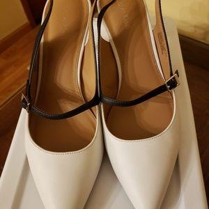Two tone slingback heels